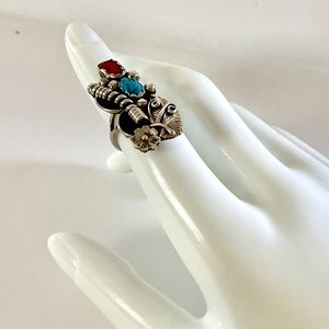 Vtg NA Signed Turquoise and Coral Silver Ring Sz 6